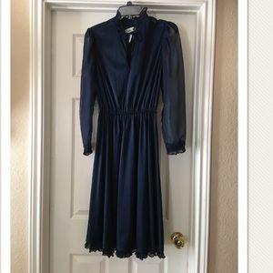 Vintage 1970's Navy Blue A-line Dress